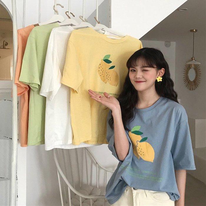 乾一 夏季女裝寬松檸檬短袖T恤新款超火cec上衣學院風半袖打底衫潮