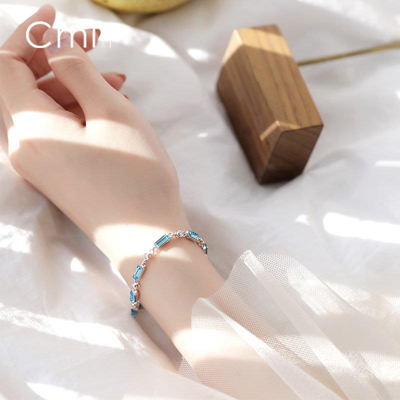 FAINO 幾何藍色仿水晶手鏈銀簡約小清新甜美韓版氣質學生手環女時尚配飾
