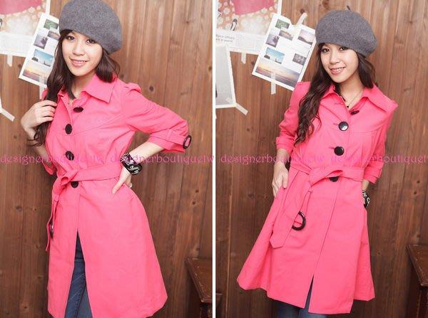 日本品牌ROJEAN&LOUIS黑色大釦桃紅色7分袖風衣/外套~特價出清