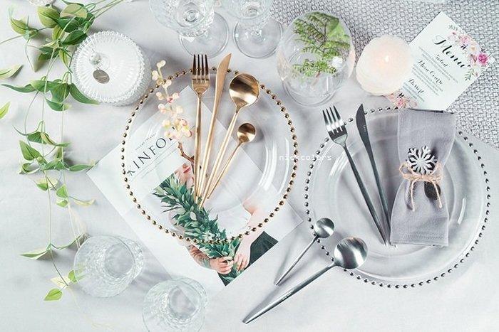 尼克卡樂斯~西班牙設計珍珠滾邊玻璃圓盤 西餐盤 精品圓盤 餐廳牛排盤