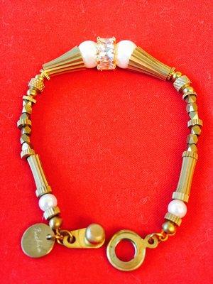 Fuchia 古銅飾品 手鍊 珍珠水晶手鍊 古董手鍊 復古手鍊 黃酮手鍊 黃酮飾品 Pinkoi品牌旗下 特價售出