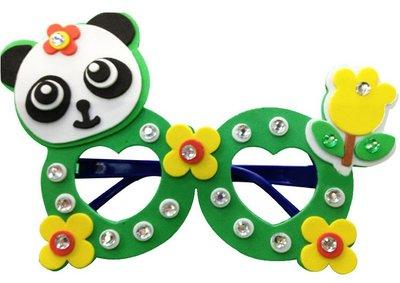 EVA鑽石眼鏡 貓熊圓圓 含鏡架 兒童美勞勞作DIY 手工製作材料 幼兒園 3D立體海綿貼畫粘貼畫拼圖 草莓熊雜貨店