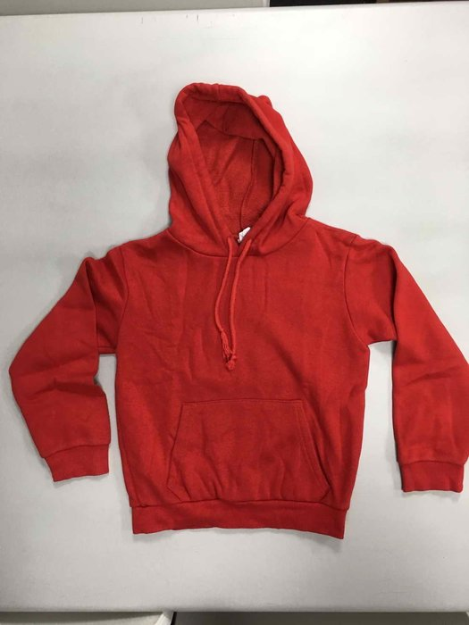 二手商品 韓版 素色連帽套頭棉T-紅色