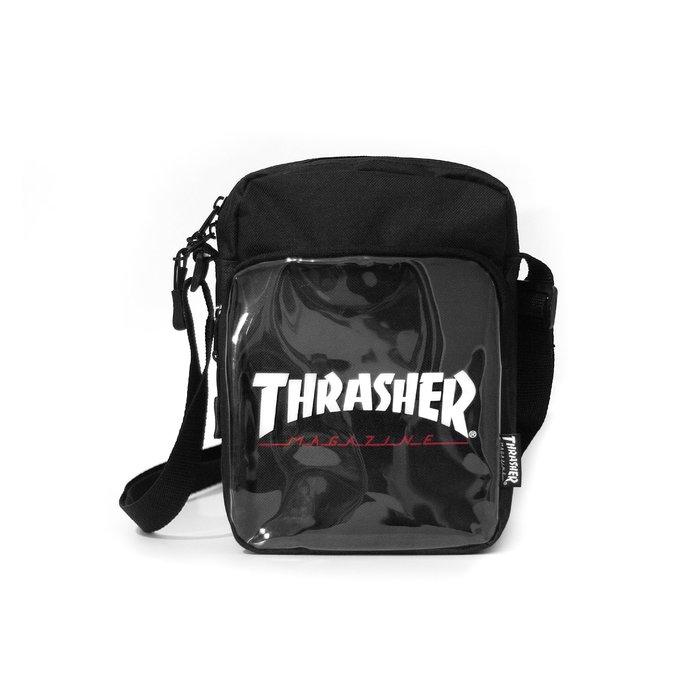 THRASHER JLP SHOULDER BAG 異材質隨身側包 日本最高支線 - 黑色【HopesTaiwan】