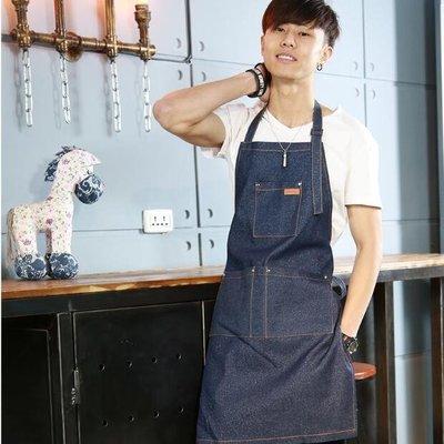 【蘑菇小隊】廚房用品-牛仔布圍裙韓版時尚掛脖工作服-免運費
