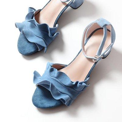 夏季新款韓版百搭仙女露趾中跟單鞋女一字扣帶羅馬涼鞋女粗跟