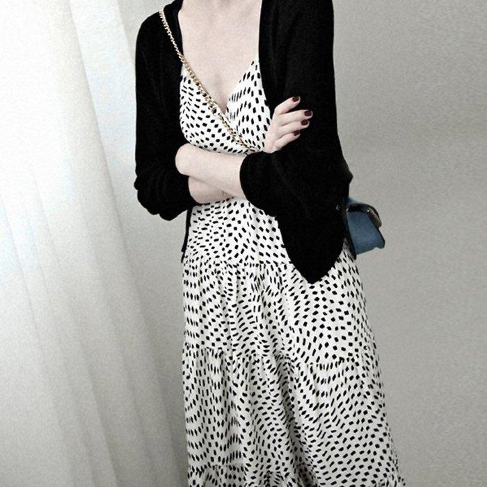 Black Market 春裝夏季新款大尺碼S-5XL法國復古裙波點細肩帶長裙洋裝(預購)