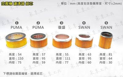 ㊣東來工具㊣復盛型 FS SWAN PUMA 巨霸3HP~15HP 濾清器紙芯 空氣濾芯器 濾清器總成 紙芯 空壓機專用 台中市