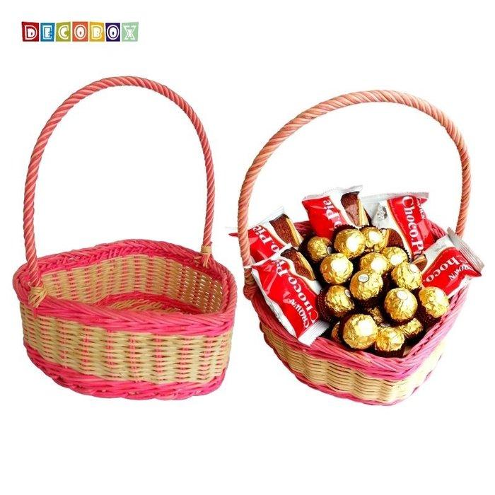 DecoBox愛心藤編大提籃(2個)(花籃.盒.麵包籃、盆栽籃、情人節、水果籃)