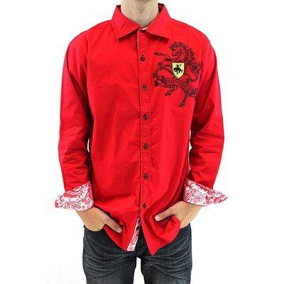 美國進口潮時尚設計【Victorious】駿馬圖騰刺繡紅色長袖襯衫(10213099005)