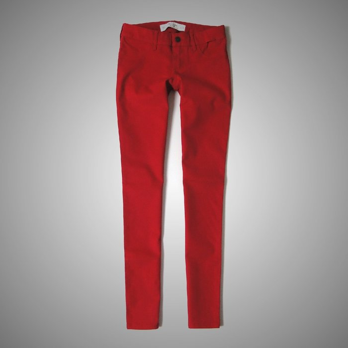 【Abercrombie&Fitch】【A&F】AF女款休閒鉛筆褲紅 F04121017-01
