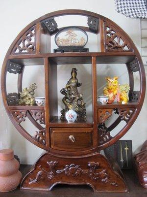 二手舖 NO.2296 天然實木 雕刻工藝品擺飾 古董 圓形博古架