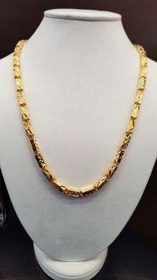 如玉坊珠寶 3兩電刻管項鍊  男項鍊  黃金項鍊   2.0呎