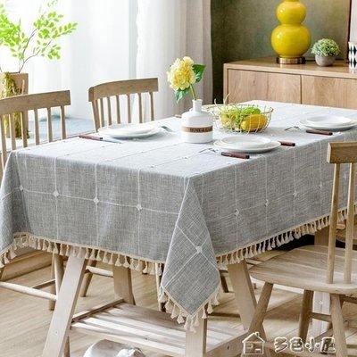 ZIHOPE 現代簡約格子桌布布藝棉麻小清新北歐文藝餐桌布長茶幾正方形臺布ZI812