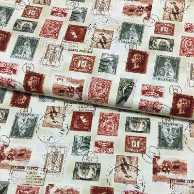 鄉村市集 美國進口WINDHAM FABRICS郵票迷的最愛棉布(幅寛108cm)  一尺119元
