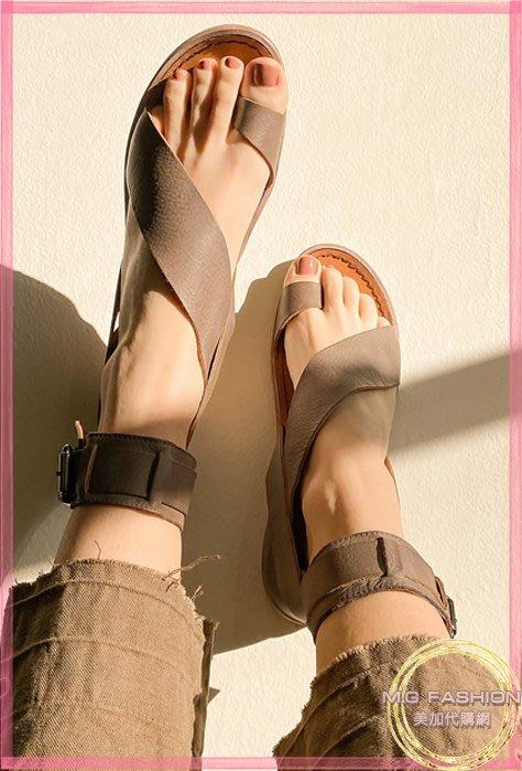 ㅑGrace 美國代購ㅕ正品 |Free People| 西班牙製 真皮及踝套趾平底涼鞋 淺棕色