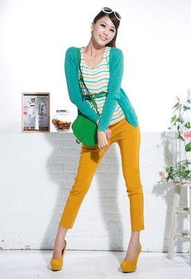 一元起標~轉賣momo購物台~茵維妮高彈性激瘦纖腿修飾褲9分褲( L size)黃色