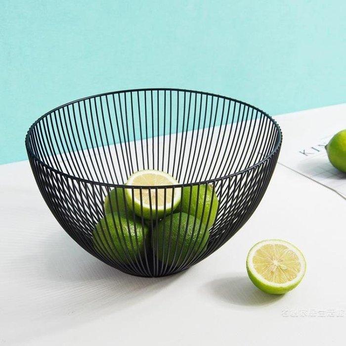 簡約鐵藝水果籃北歐現代家用客廳水果盤零食創意水果盆收納籃子尾牙