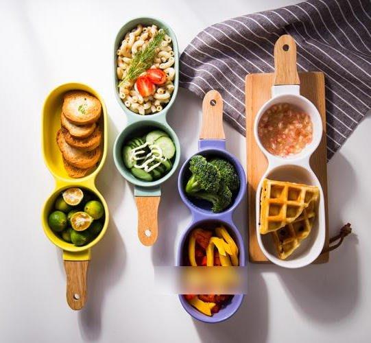 日式陶瓷碗 二格碗帶柄水果雪糕碗沙拉碗分格碗甜品碗餐具(10入)_☆找好物FINDGOODS☆