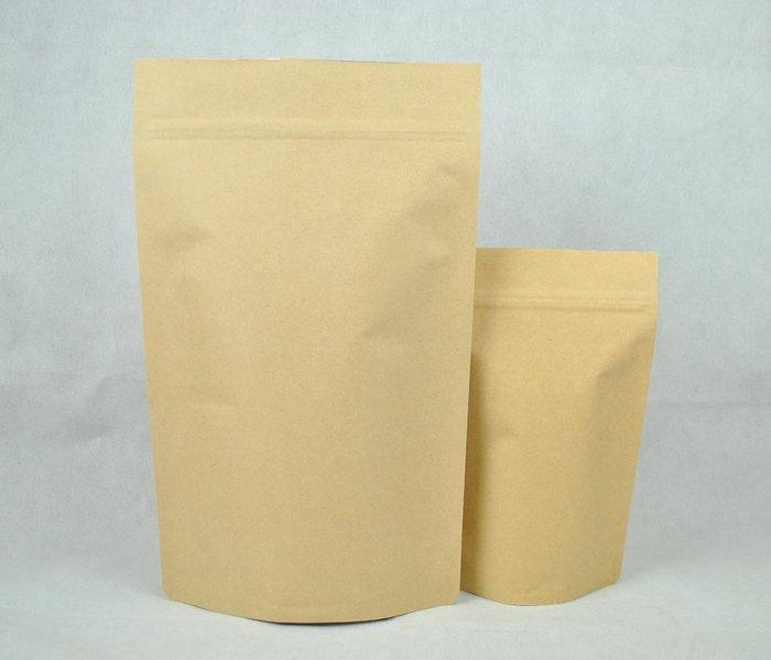 NBZ001_ 2磅裝(900g) 夾鍊站立袋 平面淡色牛皮紙 含單向排氣閥(100入)