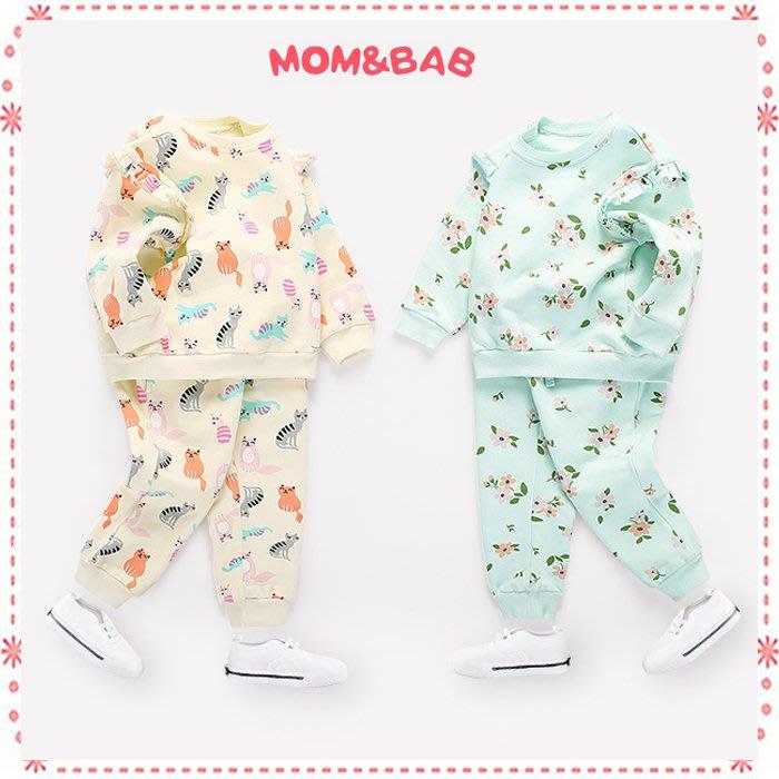 貝克比比屋☆秋冬 mom and bab 女童內抓絨長袖套裝/休閒套裝*3T、4T、5T、6T、7T