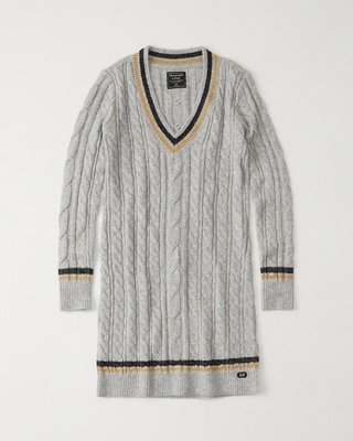 Maple麋鹿小舖 Abercrombie&Fitch * AF V領麻花針織長袖洋裝 * ( 現貨M-T號 )