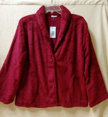 MKMC 美國專櫃 珊瑚絨 法蘭絨 睡衣 上衣 外套 前開式 鈕扣 寬鬆舒適 酒紅色 加厚 大碼