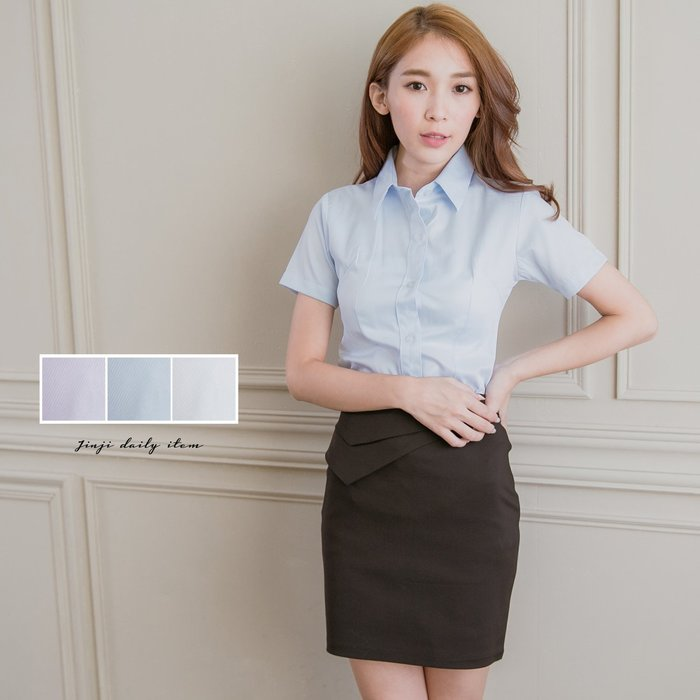 OL學生公司制服/ 女生短袖水藍色襯衫《SEZOO襯衫殿 高雄店家》047008922