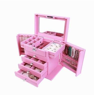 【優上】首飾盒實木質帶鎖韓國公主歐式化妝收納盒雕花鑲鑽「花蝴蝶鑲鑽 公主粉色」