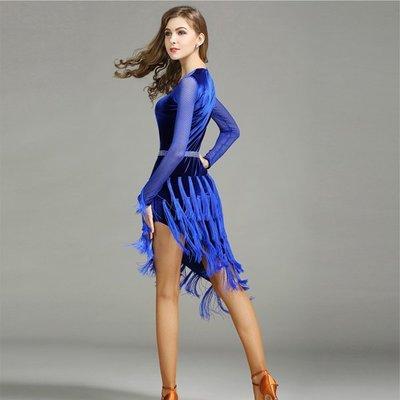 5Cgo【鴿樓】會員有優惠  541407993828  成人拉丁舞裙連衣裙MY734流蘇國標舞裙旗袍式複古拉丁舞服