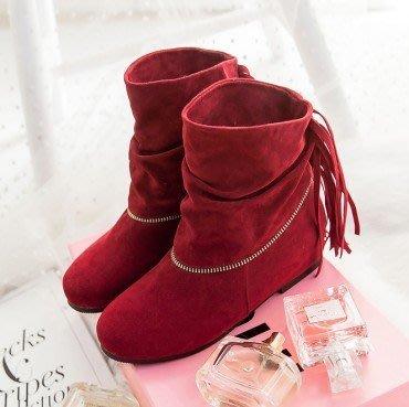 yes99buy加盟-純色小流蘇平跟短筒女靴