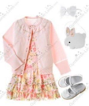 (((出清特價))) 全新 ~ GYMBOREE 粉紅花朵蛋糕裙洋裝 (4,9)