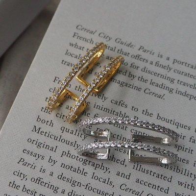 Massive 雙鑽條寬版耳骨夾 耳窩夾 Simple Modern [正韓] 韓國連線 【NN289】