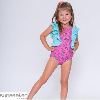 【泳裝特價】澳洲Sunseeker泳裝女童粉色星座風荷葉袖連身三角5160037(outletstore 清倉)