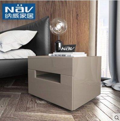 『格倫雅』納威床頭櫃鋼琴烤漆暖色系臥室迷妳收納儲物櫃簡約現代床邊小櫃子^15754