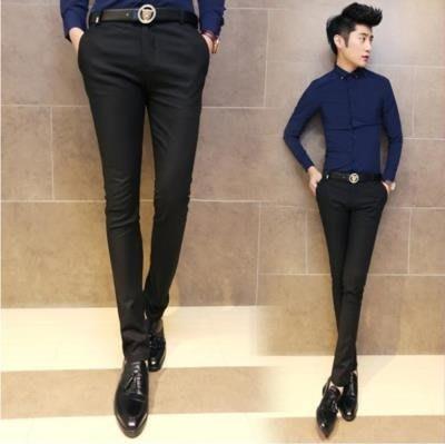 西裝褲 春秋男士修身休閒長褲英倫潮男薄款小腳西褲黑彈力緊身西裝褲微彈
