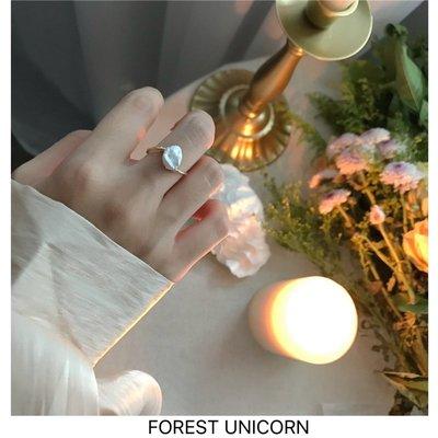 千禧禧居~FOREST UNICORN 法式浪漫單顆自然珍珠巴洛克復古小眾纏繞戒指女