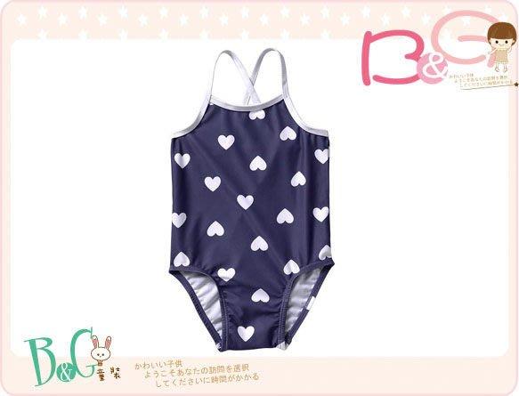 【B& G童裝】正品美國進口OLD NAVY Heart-Print 愛心圖樣藍色連身泳裝2,5yrs
