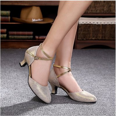 5Cgo【鴿樓】會員有優惠 37365430871 女式真皮摩登舞鞋高跟牛皮舞蹈鞋交誼舞鞋繞帶跳舞鞋 拉丁舞鞋