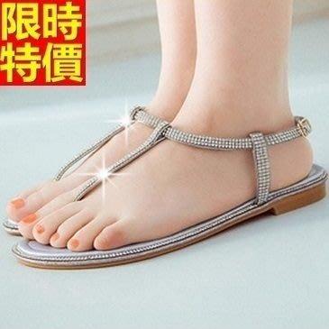 平底涼鞋 夾腳拖鞋-滿鑽設計簡約氣質女休閒鞋子3色67d47[獨家進口][米蘭精品]
