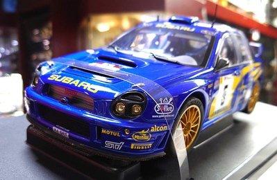 autoart 1/18。SUBARU Impreza WRC 2001。..藍彩..圓燈..box