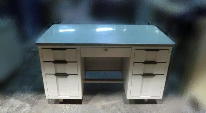 樂居二手家具*C1011 四尺七抽辦公桌* 辦公鐵桌 書桌 電腦桌 工作桌 寫字桌 二手七抽辦公桌