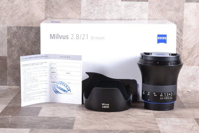 【品光攝影】Zeiss Milvus T* 21mm F2.8 ZE for CANON 公司貨 GI#74263T