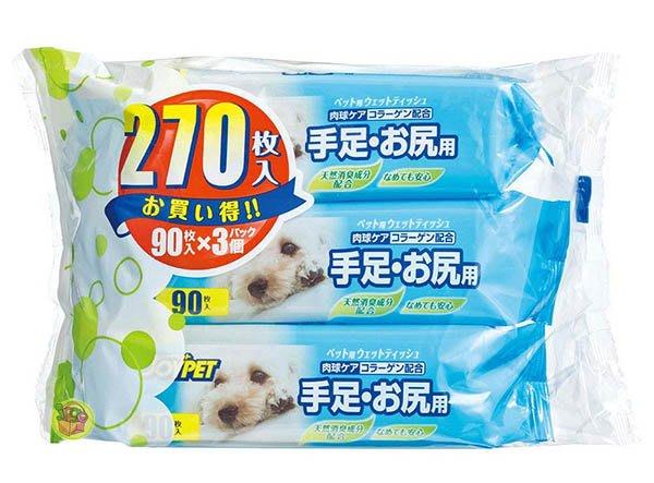 【JPGO】預購-日本製 JOYPET 寵物專用 犬貓通用濕紙巾 手足臀清潔濕巾 90枚x3包入 #954