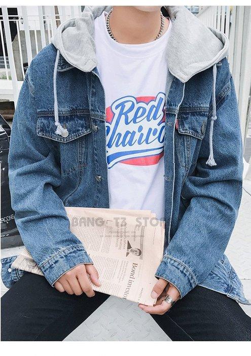 BANG◎可拆式連帽牛仔外套 牛仔外套 男生 女生 連帽外套 拼接外套 中國有嘻哈 單寧外套【MC22】