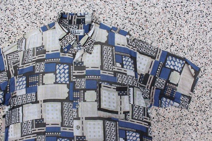 「蔣柒」Vintage 古著 復古仿舊藍色格子 夏威夷襯衫 花襯衫 美品 現貨 夏日 短袖襯衫 印花襯衫