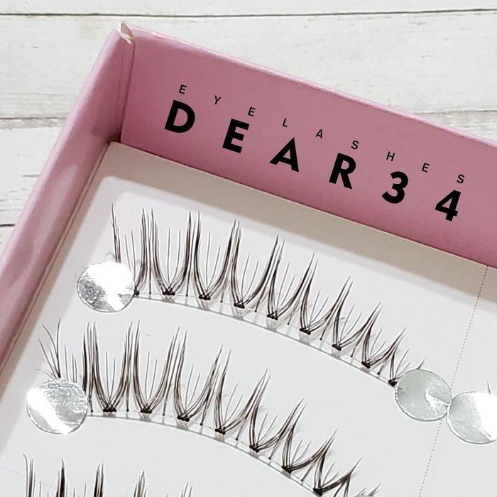 《Dear34》極細磨尖03透明梗眼尾加長V形根根分明一盒十對價