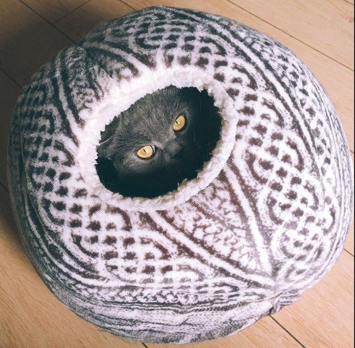 【皮蛋媽的私房貨】BED0631毛球窩-毛線球睡窩保暖趣味貓窩-編織蒙古包-巢型寵物窩貓床狗床-秘密基地