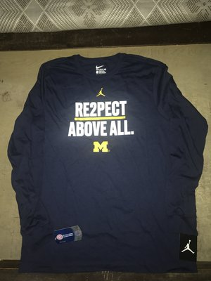 Nike 喬丹牌 密西根大學 Re2pect Above All NCAA 長袖T kd 勇士 湖人 馬刺 字母哥 irving Lebron curry