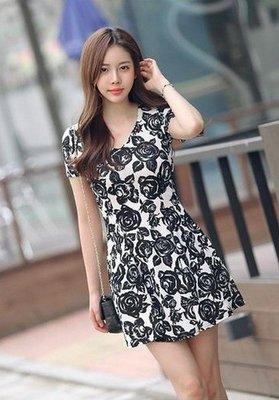 品名: 韓版夏裝印花連衣裙(單色印花) J-11486